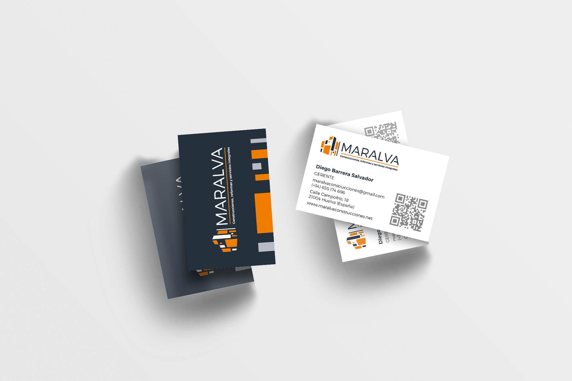 Diseño de tarjetas de visita para Maralva
